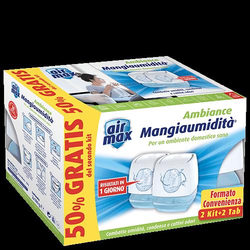 Air Max Dispositivo Mangiaumidità Ambiance Mini Bianco 100g - PROMO PACK (2 kit+2 tab)